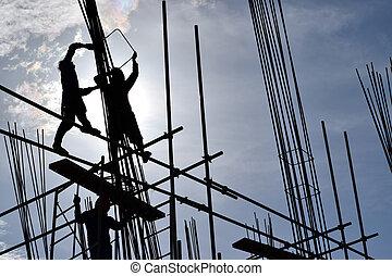 trabalhadores aço, montagem, aço, barras, ligado, high-rise, edifício.