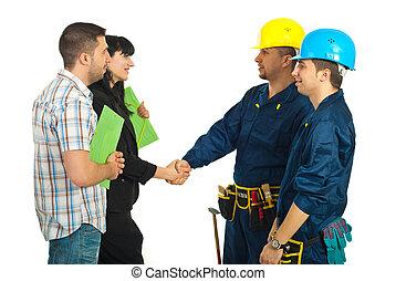 trabalhadores, acordo, família, equipe