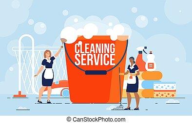trabalhadores, apartamento, serviço, limpeza, vetorial, profissional