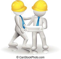 trabalhadores, arquitetos, logotipo, 3d, imagem, ícone