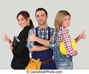 trabalhadores, branca, grupo, jovem, fundo