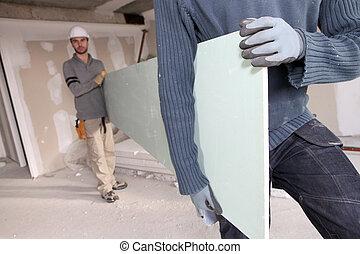 trabalhadores, carregar, plasterboard