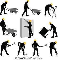 trabalhadores, construção, 2