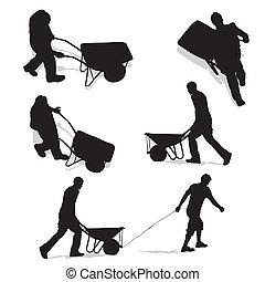 trabalhadores, construção, carrinho de mão