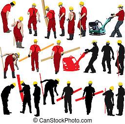 trabalhadores, construção