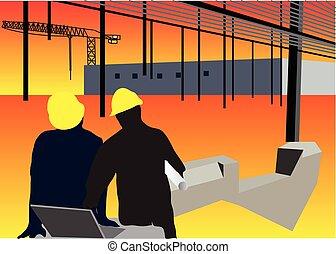 trabalhadores, construção, fundo