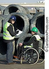 Trabalhadores, construção, local, inspeccionando