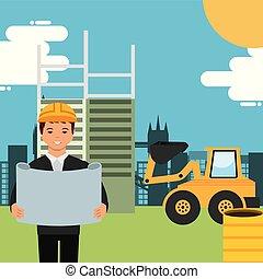 trabalhadores, construção, pessoas