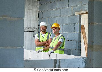 trabalhadores, construção, posar, local