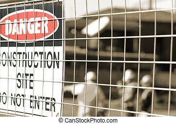 trabalhadores, construção, signage