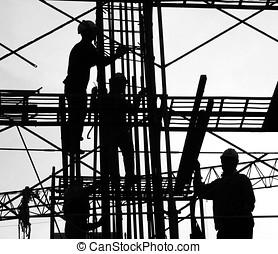 trabalhadores construção, silueta