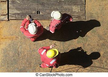 trabalhadores, construção, três