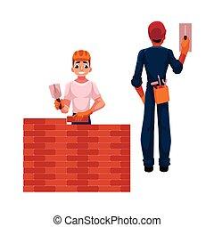 trabalhadores, construtor, -, dois, ilustração, eletricista, vetorial, construção, caricatura