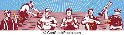 trabalhadores, contruction, tradesman, retro