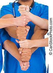 trabalhadores, cuidados de saúde, junto, mãos