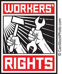 trabalhadores, direitos, cartaz