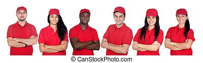 trabalhadores, equipe, uniforme vermelho