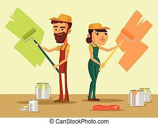 trabalhadores, escova, uniforme