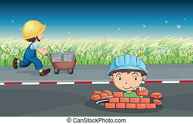 trabalhadores, estrada