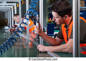 trabalhadores fábrica, e, processo produção