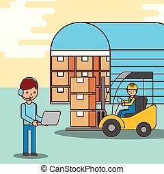 trabalhadores, forklift, motorista, armazém, caixas, operador
