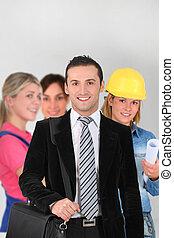 trabalhadores, grupo, fundo branco