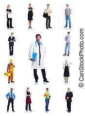trabalhadores, grupo, set., pessoas