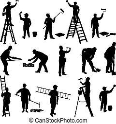 trabalhadores, grupo, silhuetas