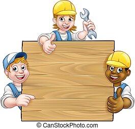 trabalhadores, handyman, fundo, sinal