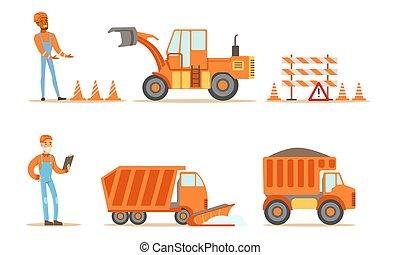 trabalhadores industriais, uniforme, construção estrada, jogo, vetorial, ilustração, máquinas