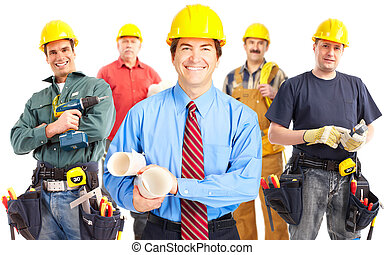 trabalhadores, industrial, group.