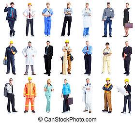 trabalhadores, jogo, pessoas., negócio