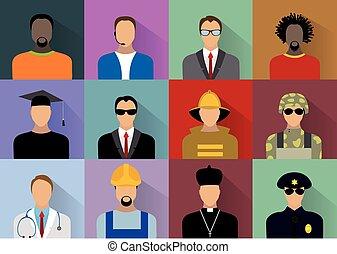 trabalhadores, jogo, uniforme, pessoas