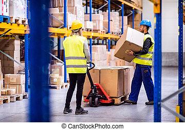 trabalhadores, jovem, warehouse.