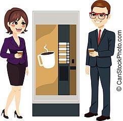 trabalhadores, máquina café