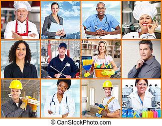 trabalhadores, pessoas, collage.