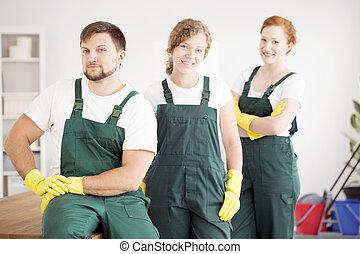 trabalhadores, roupa protetora