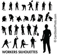 trabalhadores, silhuetas