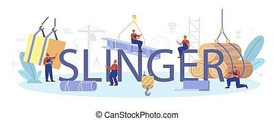 trabalhadores, slinger, construir, profissional, header., tipográfico