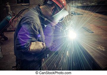trabalhadores, trabalho, soldadura, fábricas