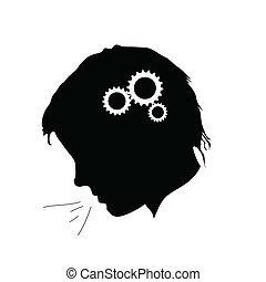 trabalhando, cérebro, ilustração