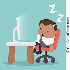trabalhando, cansadas, dormir, desk., lugar, africano, homem negócios