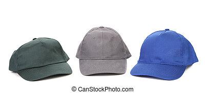 trabalhando, caps., cinzento, verde azul