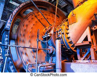 trabalhando, carvão, misturador