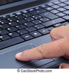 trabalhando, com, um, laptop