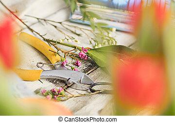 trabalhando, desktop, fundo, floricultor, branca, ferramentas