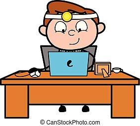 trabalhando, doutor, laptop, -, ilustração, vetorial, profissional, caricatura