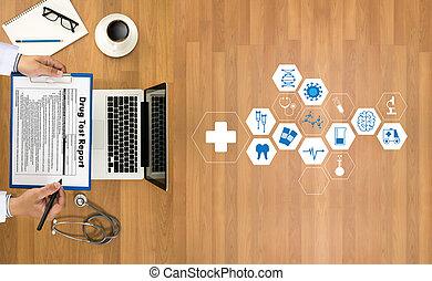 trabalhando, doutor, modernos, mão, medicina, computador, saúde,  interface, profissional, cuidado