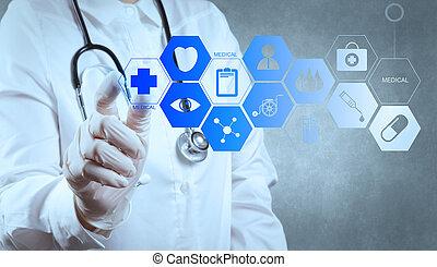 trabalhando, doutor, modernos, medicina, computador, ...