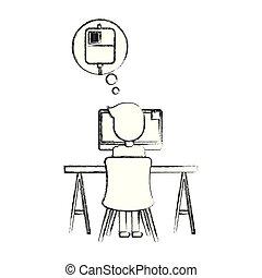 trabalhando, doutor, pensando, saco, computador, sangue
